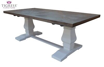 """Tuscany"" Grey Parquetry 210cm Solid Hardwood Dining Table White Pedestal Base"