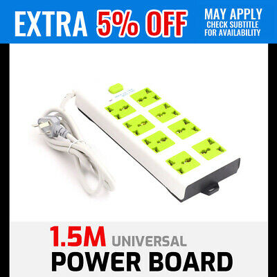 NEW 8 Way 1.5m Socket Universal Power Board Switch OUTLET US EU UK CH Powerpoint