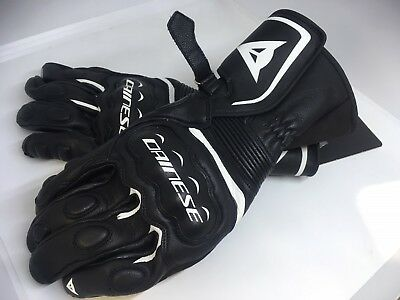DAINESE ASSEN Leather Riding BLACK/WHITE GLOVES Adult Motorcycle SALE Was $169