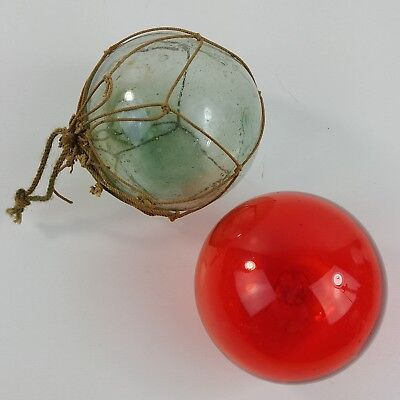 """2 Red Clear Rope Japanese Fishing Blown Glass Floats 3"""" Beach Decor Antique"""