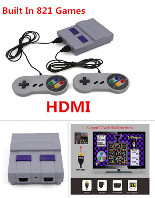 US Mini Retro Game Console Entertainment HDMI Built-in 821 Super Nintendo Game
