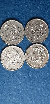 Old £1 - One Pound Coin Full Set Of Four Coins  -  Uk Floral Emblems  2013/2014