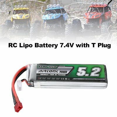 Airtonk Power 7.4V 5200mAh 30C 2s 1P Lipo Battery T Plug for RC Drone Car Gift c
