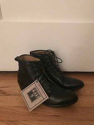 1a459ce58d2 FRYE CARSON LACE-UP Boot Booties Black Leather Women's Size 8.5 New with  Tags