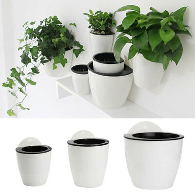 PicClick & HOME SELF-WATERING FLOWER Pot Plant Wall Planter Hanging Garden Plastic Decor US
