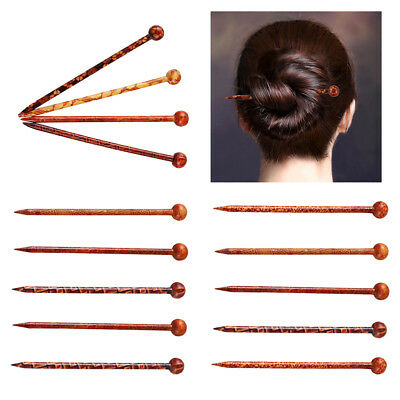 14pc Chinese Traditional Wooden Hairpin Classical Lady Hair Sticks Shawl Pin