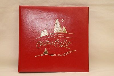 Vintage Christmas Card List Address Book Red Leatherette in Original Box Unused