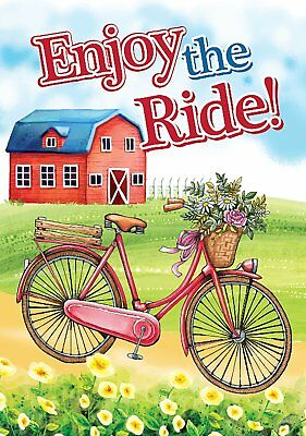 "Morigins Enjoy the Ride Double Sided Colorful Blooms Decor Garden Flag 12"" x 18"""