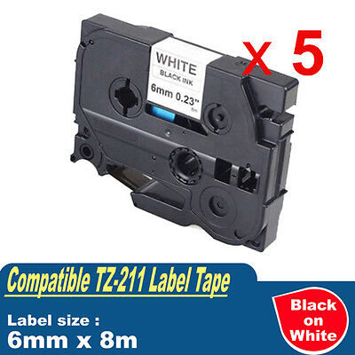 5x Compatible For Brother TZ-211 P-Touch Black on white Label Tape 6mm 8m TZe211