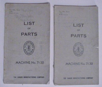 2 Books Vintage 1938 LIST OF PARTS for SINGER Sewing Machines No 71-30