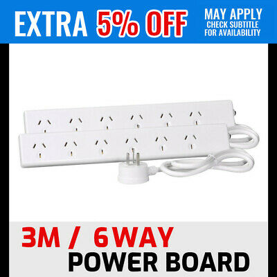 2 X Quality 6 Way Power Board Powerboard Socket 3m Cord Cable Surge Protected