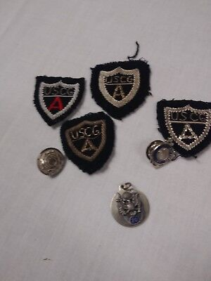 Vintage group lot of USCG auxiliary patches pin button pendant 7 pcs no reserve!