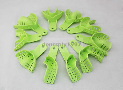 10pcs Dental Plastic Impression Trays Autoclavable Central Repeated Use Green