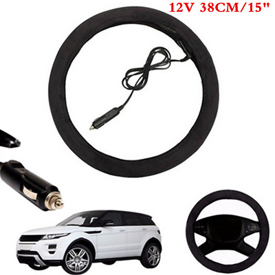 Black Comfortable Heated Steering Wheel Cover Warm Winter 38cm For Car SUV 12V
