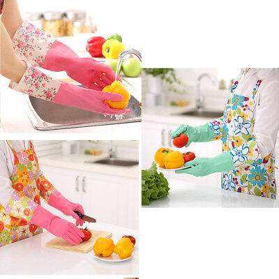 Strong Household Rubber Gloves Long Sleeve Floral Washing Up Cleaning Gloves