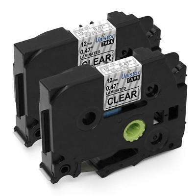 2PK Compatible for Brother TZe 131 TZ131 Black on Clear P-Touch 1/2'' Label Tape