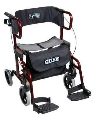 Drive Diamond Deluxe 2-in-1 Wheelchair - Rollator
