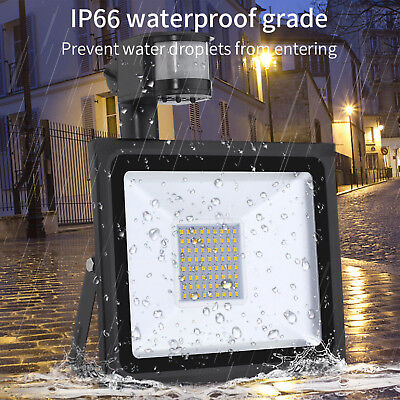 PIR Sensor LED Energy Saving Flood Light Outdoor Security 10/20/30W 50W Slimline