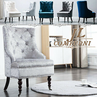 JL Vintage Velvet Accent Button Wing Back Occasional Armchair Retro Sofa Chair