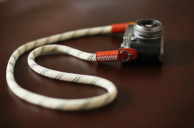 Camera neck strap handmade white climbing rope brown leather B type | Windmup