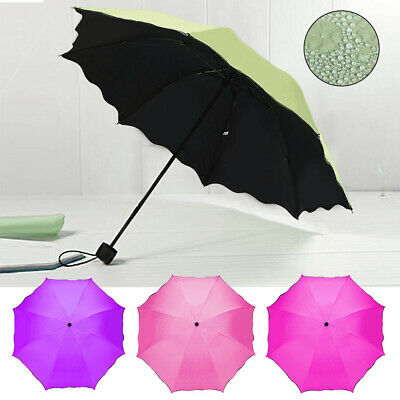 Women Umbrella Ladies Colour Changing Compact Folding Windproof Anti-uv Sun Rain