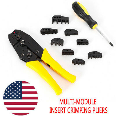 Cable Wire Terminal Crimping Crimper Ratcheting Insulated Plier Tool Kit Set