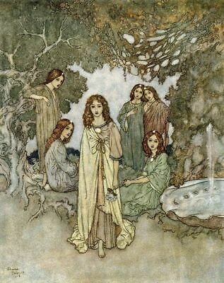 The Garden Of Paradise II Edmund Dulac 1911 Print Poster Picture Image Art A4