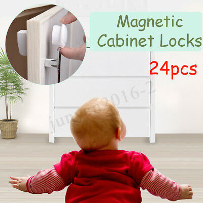 24PCS Magnetic Cabinet Locks Child Proof Cupboards Drawers Baby Kids Safety Lock