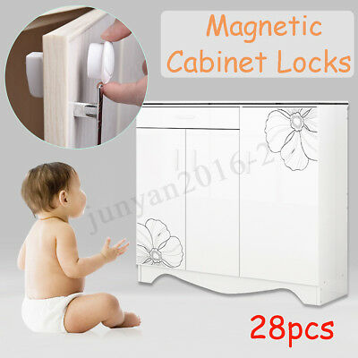 12 Locks 2 Keys Magnetic Cabinet Drawer Cupboard Lock For Child Baby Kid Safety