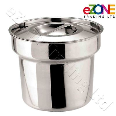 Bain Marie Round Pot & Lid Stainless Steel Soup Gravy Mushy Peas Pot 4ltr / 7pt