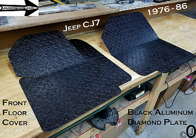 Jeep CJ7 BLACK Rubber Coated Aluminum Diamond Plate Front Floor Cover 1976-86