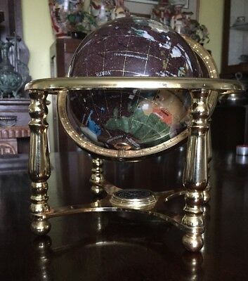 "9"" tall semi precious stone globe on brass stand with integral compass"