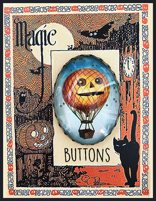 Jack O Lantern ~Hot Air Balloon Glass OVAL BUTTON Filigree  XL Vintage Halloween