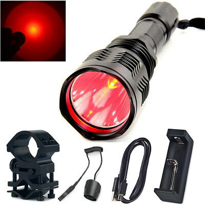 Tactical HS 802 Flashlight LED Torch Red Light Lamp kit with Charger+Mount+Tail