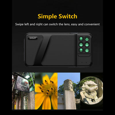 For iPhone XS Phone Case Lens 180° Fisheye Telephoto Macro Wide Angle 6 in1 K4Y6