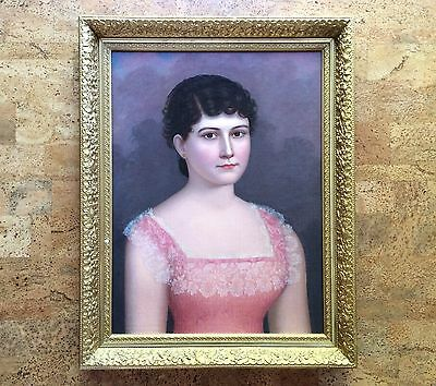 Antique Late Victorian Portrait Painting of Young Woman American Folk Art 2 of 2