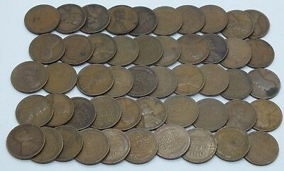 1919 Lincoln  Wheat 50 Coins Cents Penny Full Roll Average Circulated 1C LE085