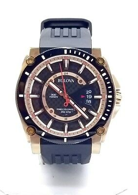 Bulova Precisionist Men's Quartz Rose Gold Tone Accents 46.5mm Watch 98B152