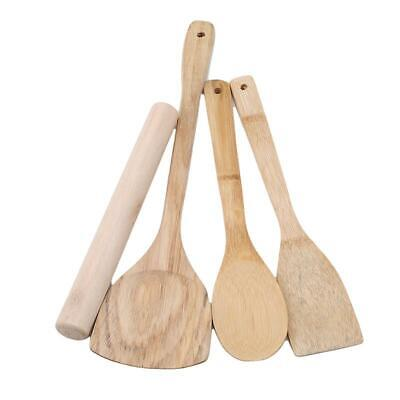 4 PCS Bamboo Utensils Kitchen Wooden Cooking Tools Spoon Spatula Mixing O3