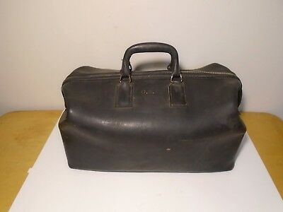 Antique Leather Doctor Physician Bag Case Satchel Medical Suitcase Tote Zipper
