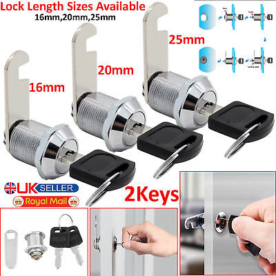 Cam Lock for Door Cabinet Mailbox Drawer Cupboard 16mm 20mm or 25mm + 2Keys New