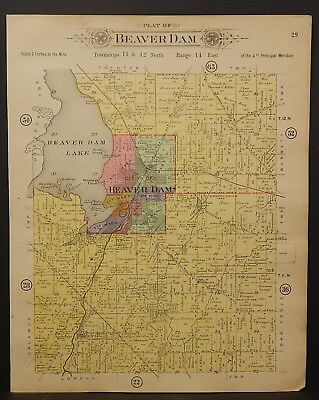 Wisconsin Dodge County Map Beaver Dam Township 1910 J24#04