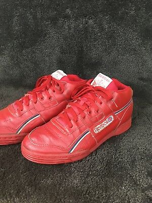 d8a34b6e6b50 Vintage 80s Reebok Mid Top Red Made In Korea The Athletes Shoe Size 10 US