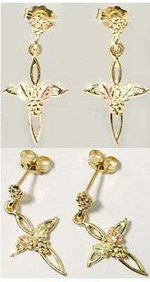 Handcrafted South Dakota Black Hills 12k Red Green Gold Leaf Cross Studs Solomon
