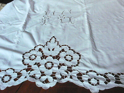 Vintage French métis linen STUNNING CUTWORK  embroidered sheet 93X131