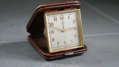 Vintage Angelus Fold-Over 8 Day Tandem Wind Swiss Travel Alarm Clock