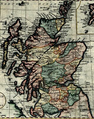 Scotland Great Britain c.1790's nice 18th century hand colored old map