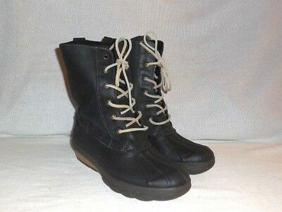 4057afc2b634 SPERRY Saltwater Reeve Wedge Duck Boots Black Leather Womens size 7.5 M