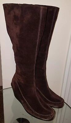 9cc01694d1f7 Aerosoles Gather Round Brown Suede Leather Wedge Knee High Boots Sz 8.5 M