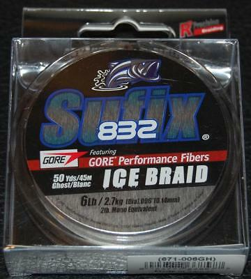 NEW Sufix 832 Advanced Ice Braid 8lb Test 50yd Neon Lime 671-008L